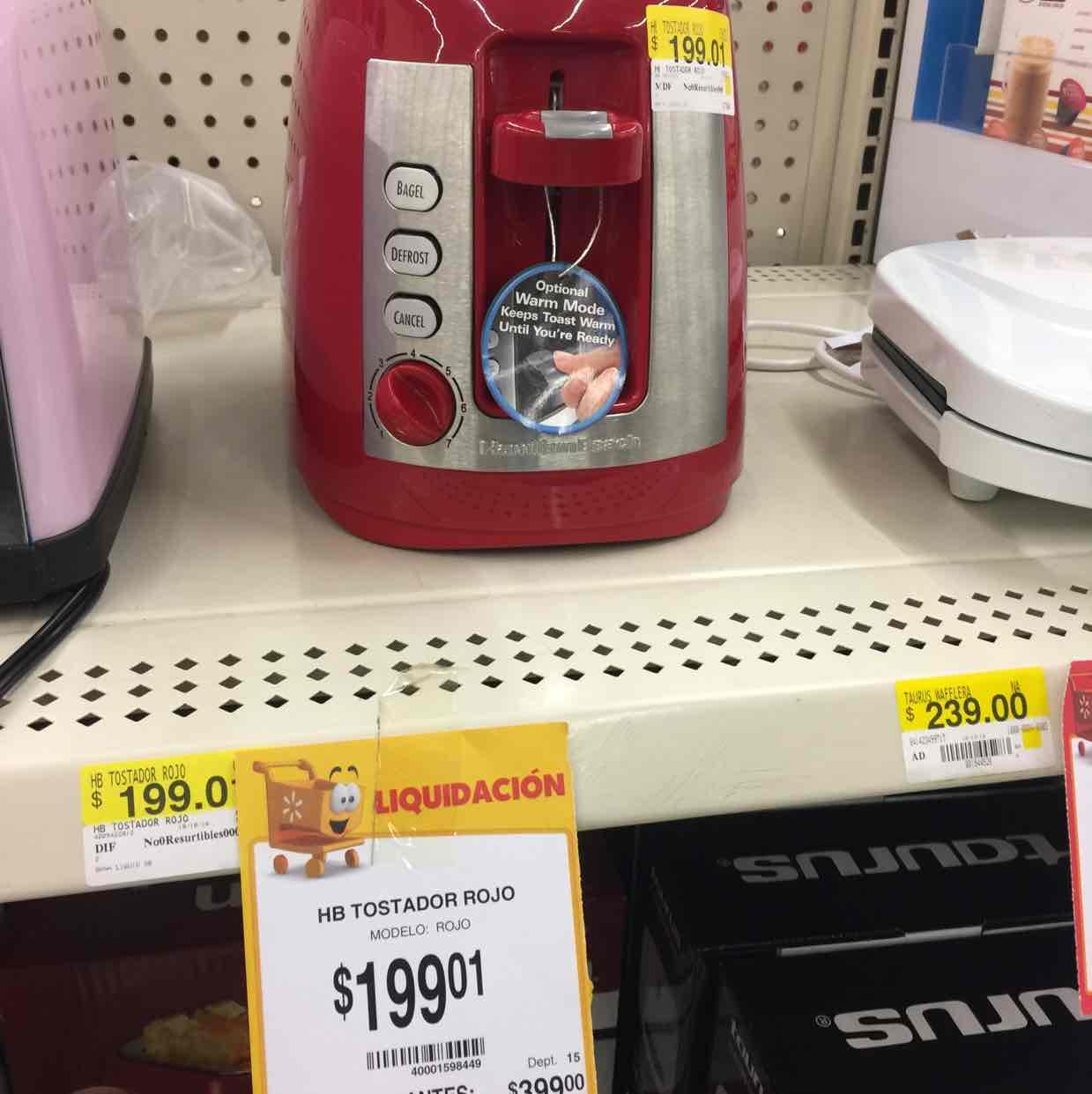 Walmart: tostador Hamilton Beach rojo a $199.01