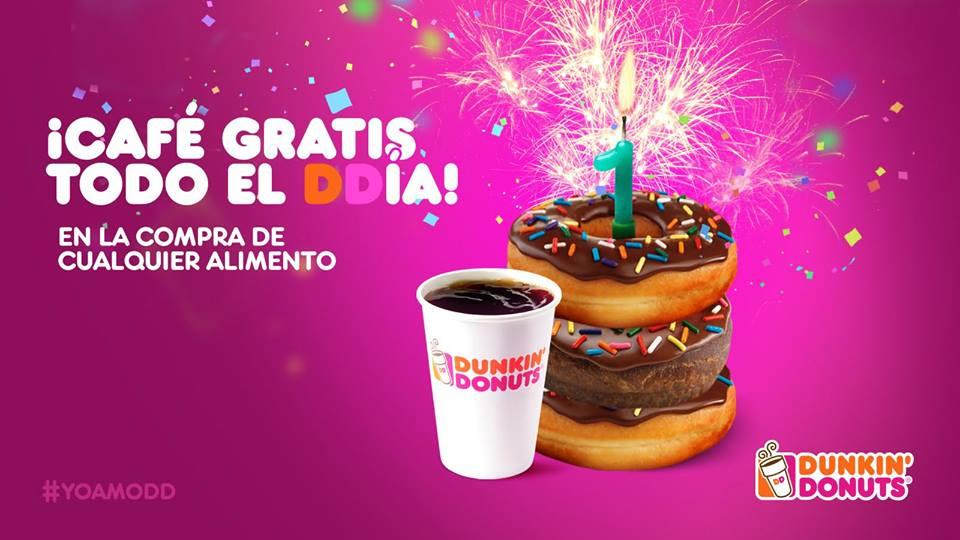Dunkin' Donuts: Café GRATIS todo el día de mañana al comprar cualquier alimento