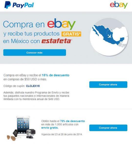 ebay: cupón de 15% de descuento y ofertas especiales