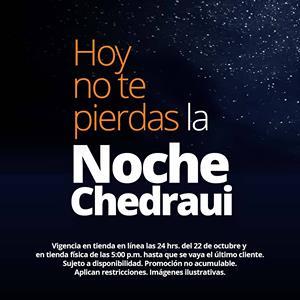 Chedraui: Gran Venta Nocturna tienda en línea y física: 20% de descuento en varios departamentos + 13 MSI sólo hoy apartir de las 5 pm.