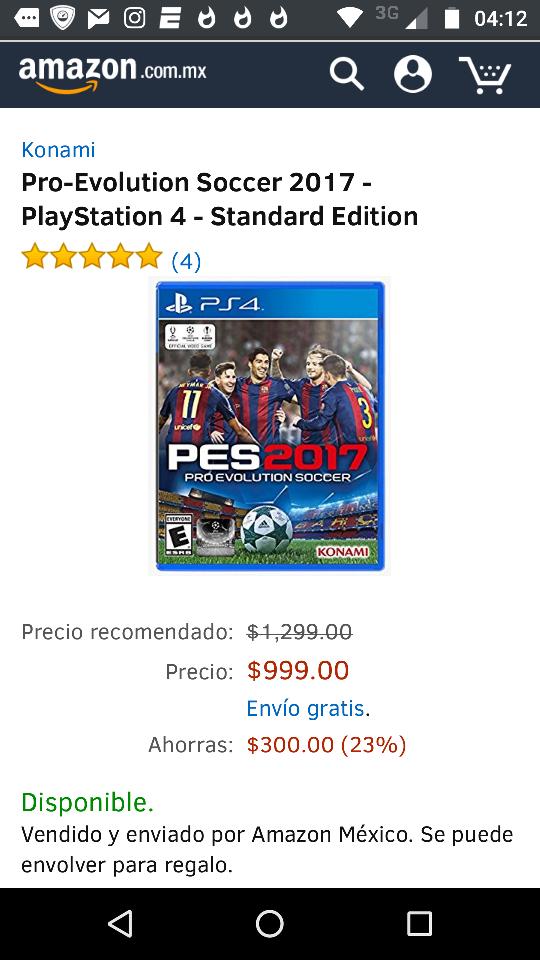Amazon: PES 2017 PS4 a $999.00 (o menos si te llegó cupón de $200)