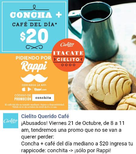 Cielito Querido: Promo express Concha+ café a $20 pesos con Rappi