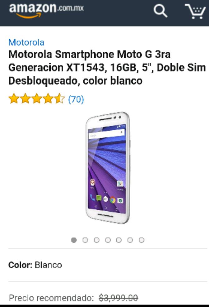 Amazon: Motorola Smartphone Moto G 3ra Generacion XT1543 DUAL SIM 16GB 4G LTE Liberado