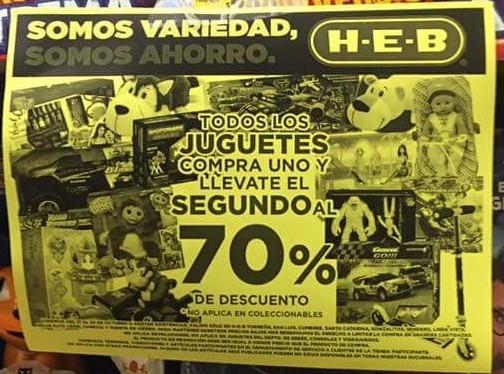 HEB: Juguetes, compra uno y el segundo con el 70% de descuento
