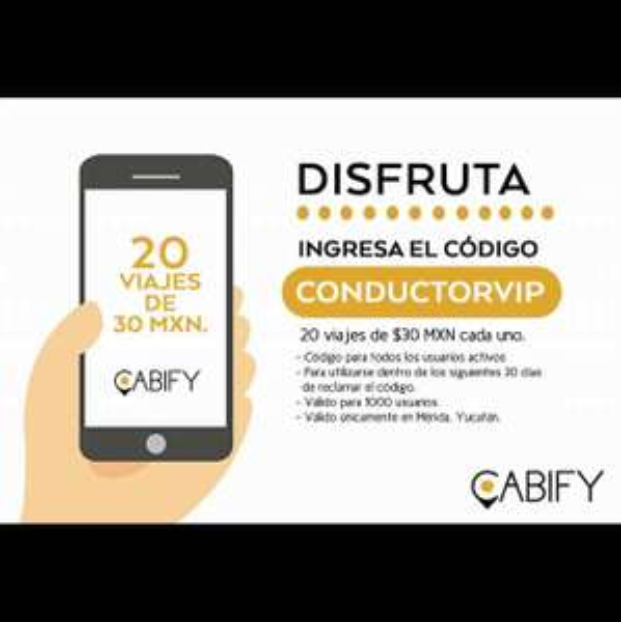 Cabify Mérida: 20 viajes de $30 para todos los usuarios