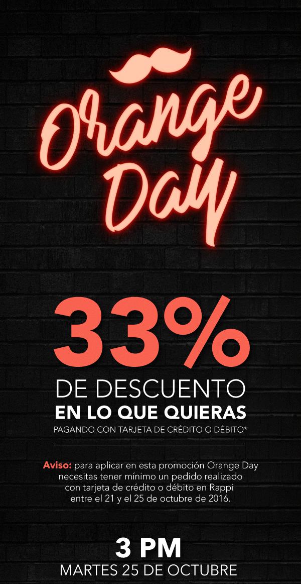 Rappi: Orange Day, 33% de descuento en cualquier cosa que pidas, descuento máximo $2,000