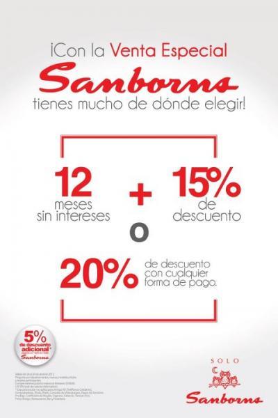 Sanborns: 20% de descuento o 15% y 12 meses sin intereses