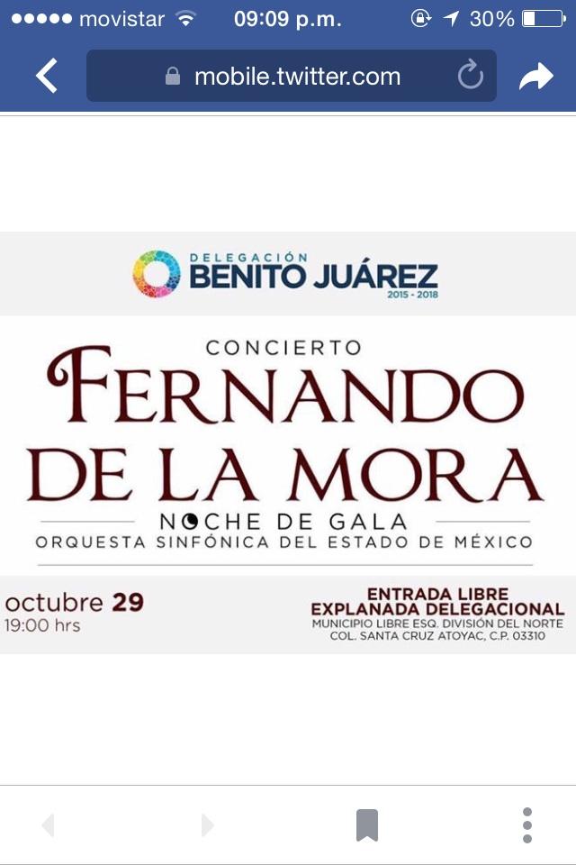 CDMX Fernando de la Mora en concierto gratuito