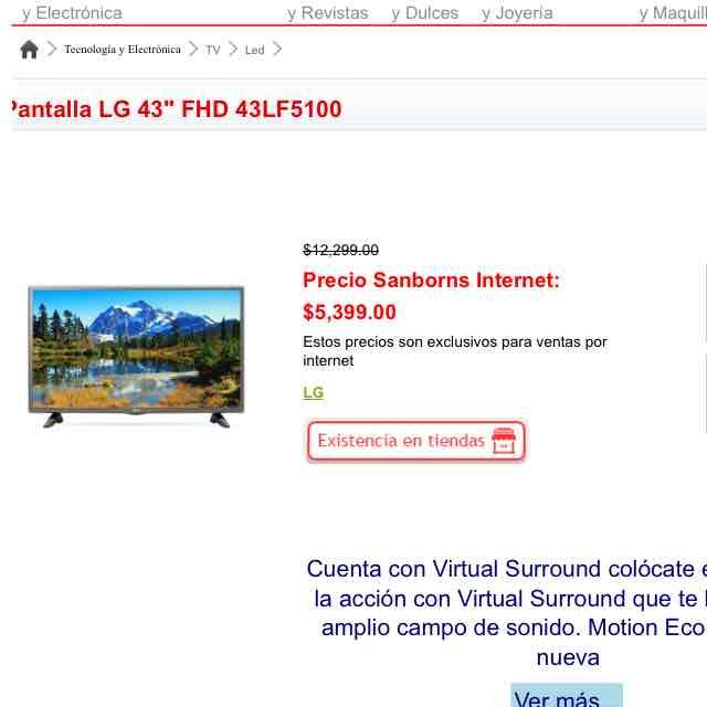 "Sanborns: Pantalla LG 43"" FHD 43LF5100"