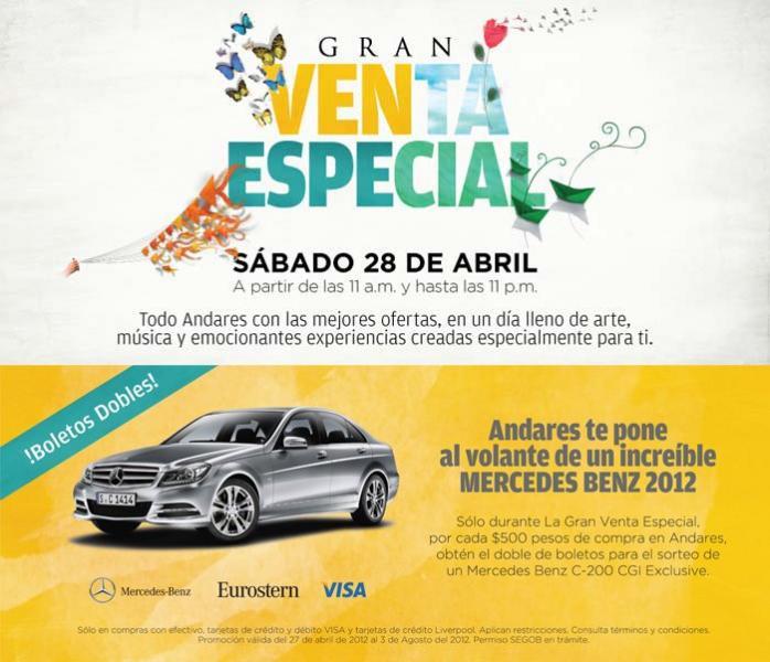 Venta Especial Centro Comercial Andares el 28 de abril (GDL). Actualizado.