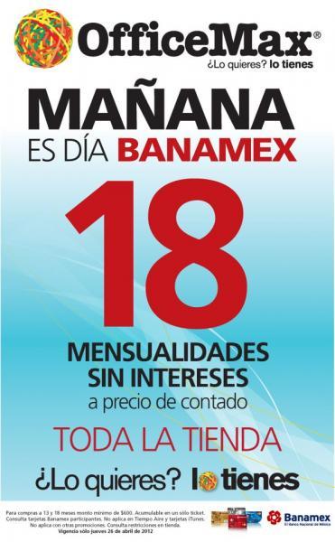 OfficeMax: 18 MSI a precio de contado con Banamex