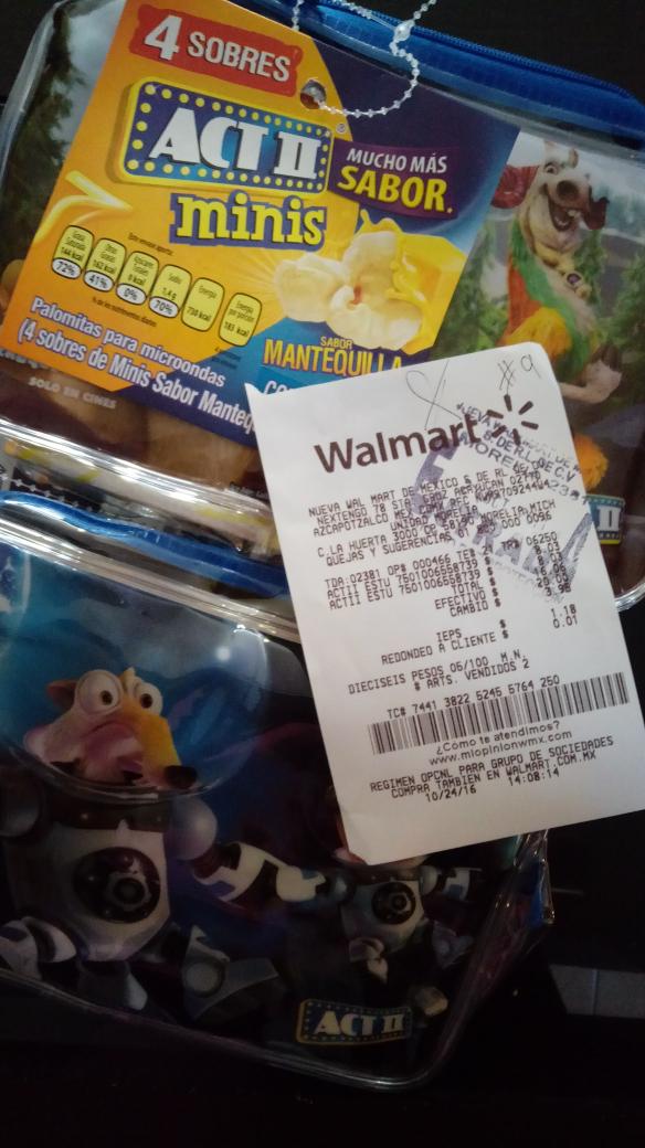 Walmart la Huerta Morelia: estuche + 4 sobres Minis Act ll Mantequilla Extra a $8.03