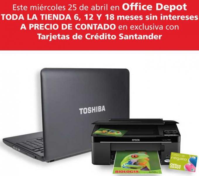 Día Santander en Office Depot: 18 meses sin intereses y regalo con compra de computadora