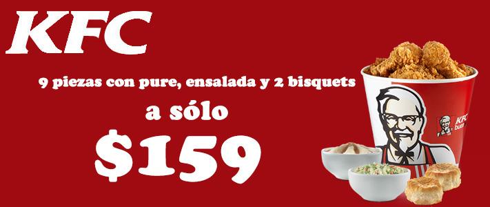 KFC: 9 piezas de pollo con pure, ensalada y 2 bisquets a $159