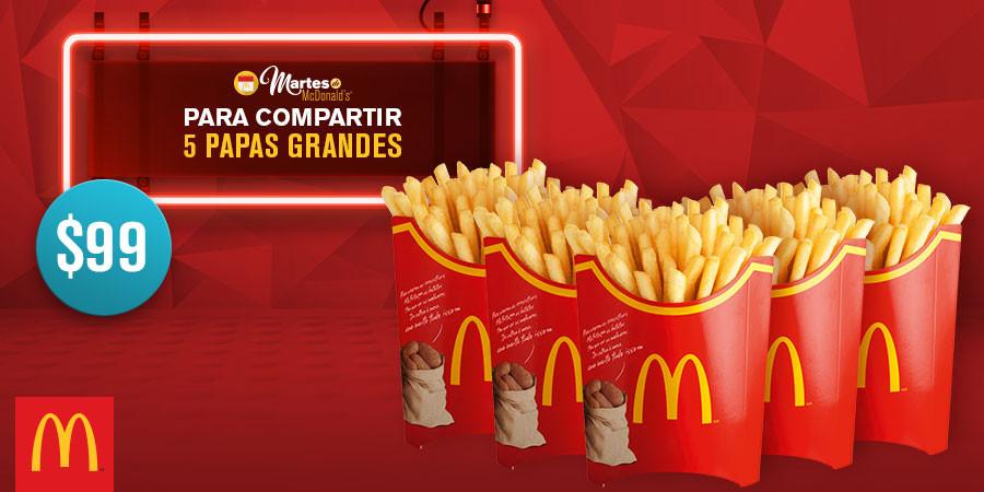 Martes de McDonald's: 5 papas grandes por $99 y 2 McMuffin por $39