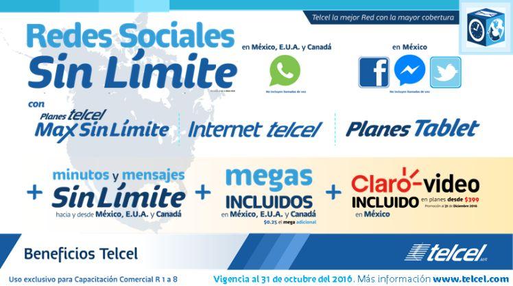 Telcel: Redes Sociales Ilimitadas en Planes