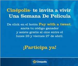 Cinépolis: entrada al cine gratis esta semana con cuenta de Twitter