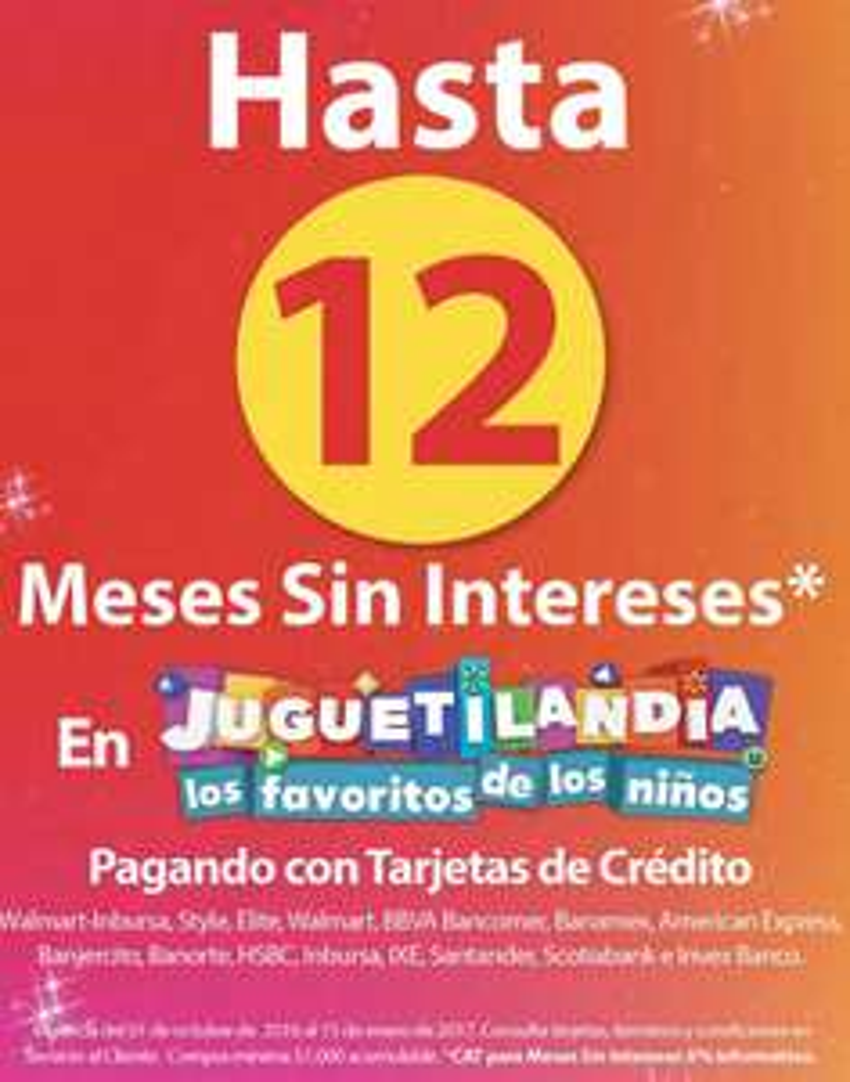 Walmart Juguetilandia: Hasta 12 meses sin intereses