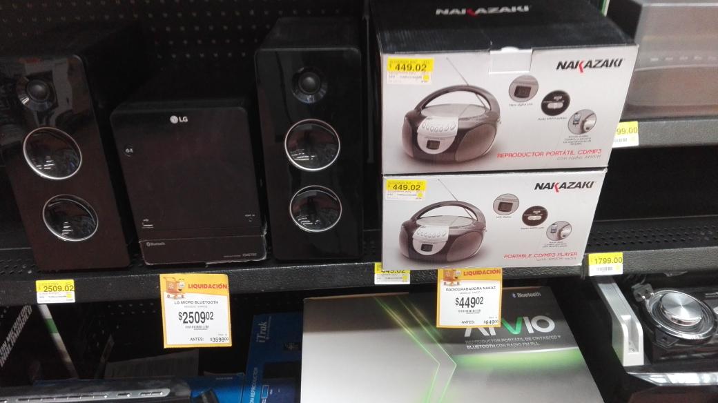 Walmart Puerta: Equipos de audio en promoción, ejemplo grabadora Nakazaki a $449.02 y más
