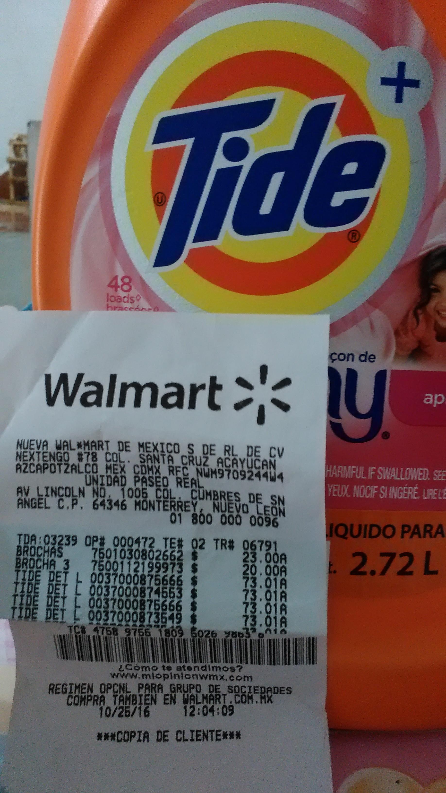 Walmart Paseo Real Monterrey: detergente Tide 2.72lt a $73.01