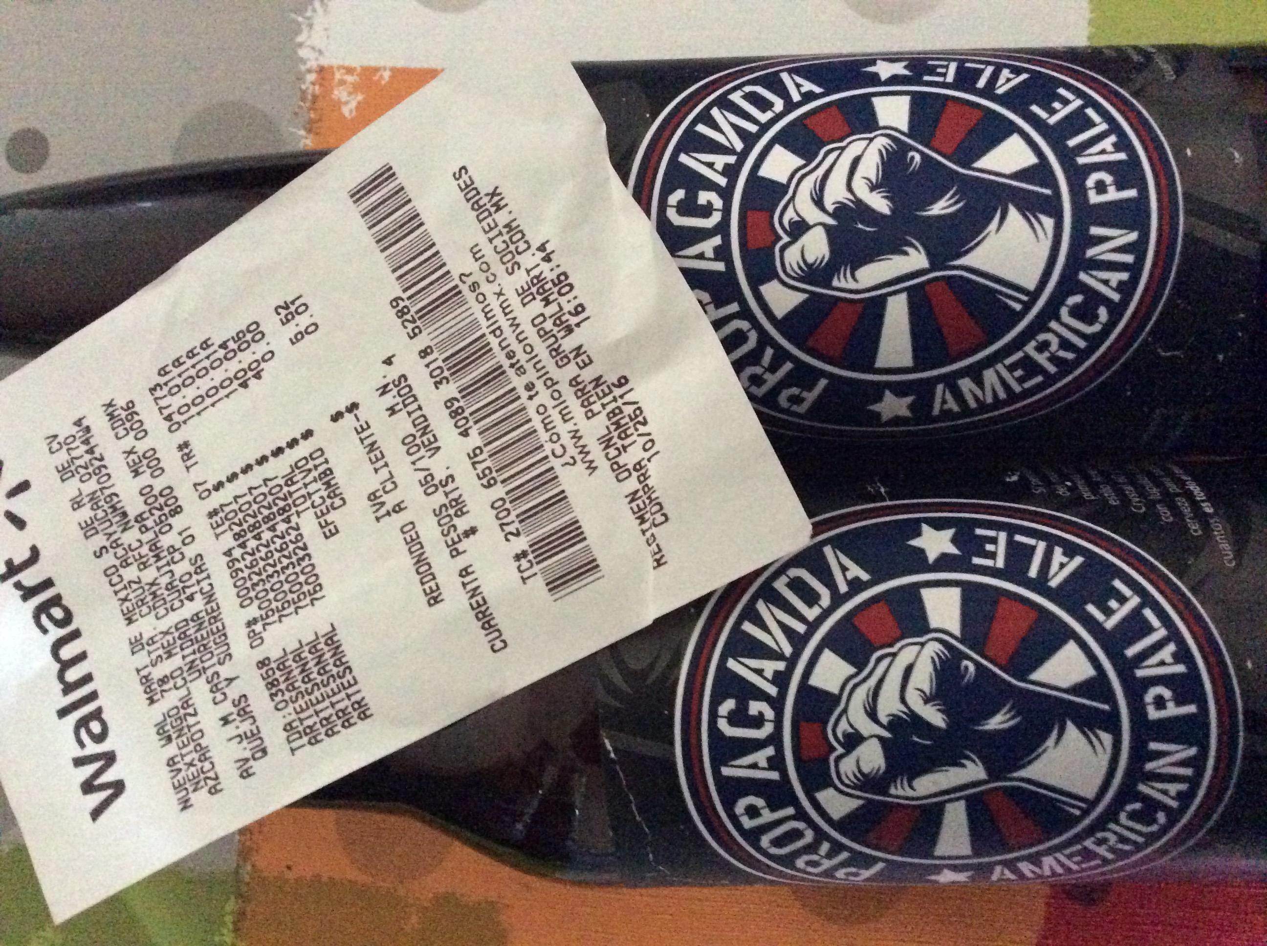 Walmart Cuajimalpa: Cerveza Artesanal Propaganda American Pale Ale a $10.01