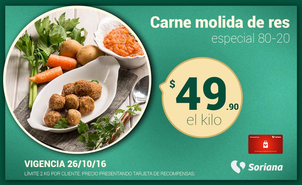 Soriana Híper y Súper: Recompensa Miércoles 26 Octubre: Carne Molida de Res Especial 80-20 $49.90 kg.