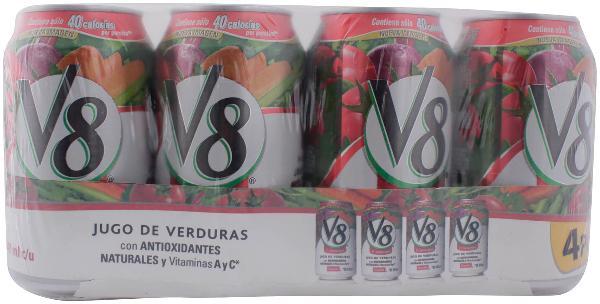 Chedraui Villa Cristal: Jugo V8 Vegetales Lata 4Pack 340 Ml