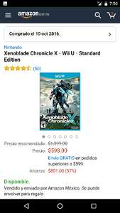 Amazon México: Xenoblade Chronicles X Wii U $ 598