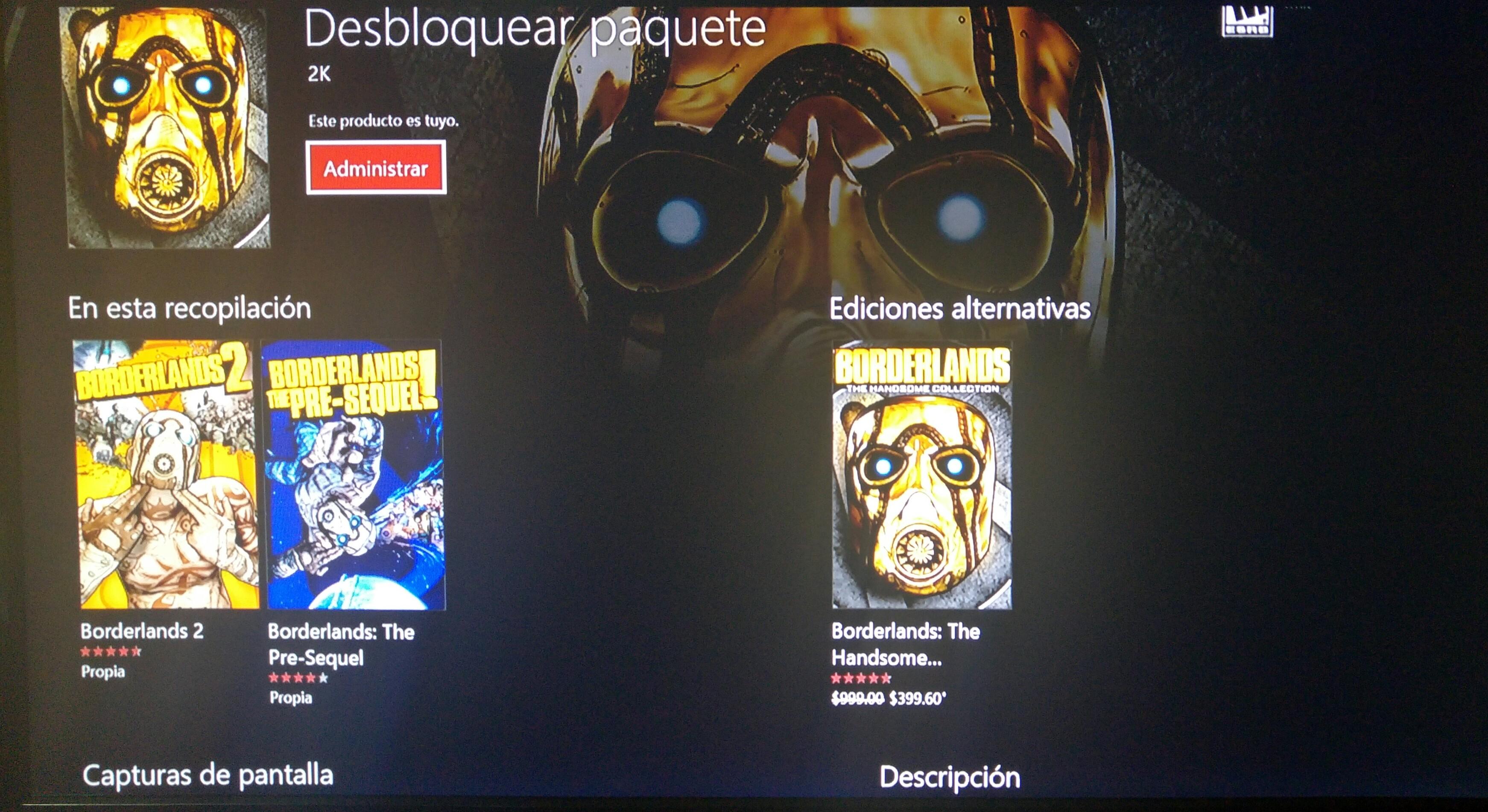 Borderlands the handsome collection GRATIS para Xbox One hasta el 30 de Oct