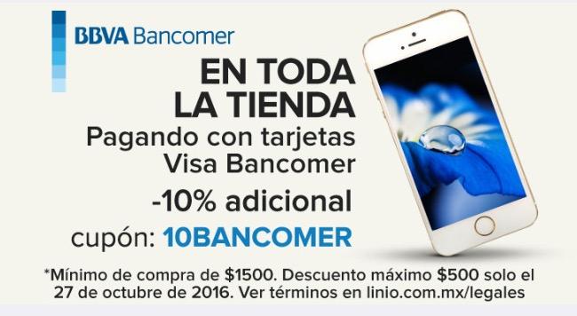 Linio: cupón del 10% de descuento en toda la tienda con Bancomer en la App