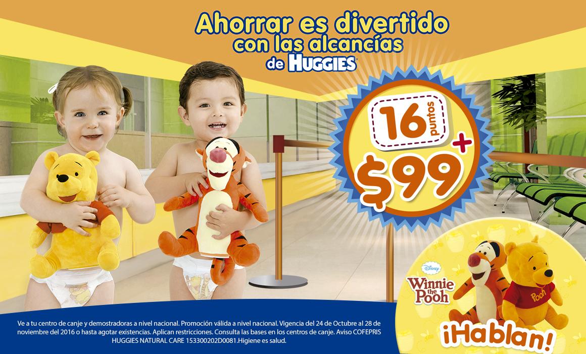 Huggies: Canjea 16 puntos + $99 = Alcancía de winnie pooh
