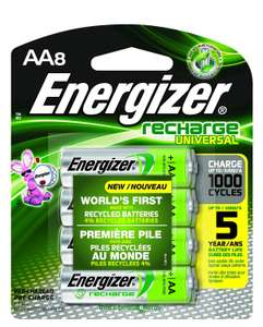 Amazon: 8 Pilas Recargables Energizer.