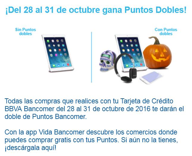 Puntos Bancomer al doble del 28 al 31 de Octubre