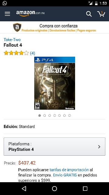 Amazon Mx: Fallout 4 PS4 $407