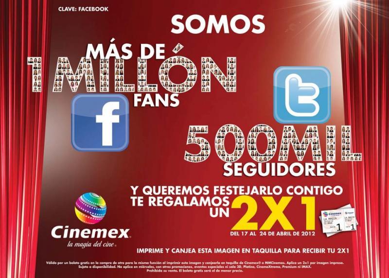 Cinemex: 2x1 con cupón