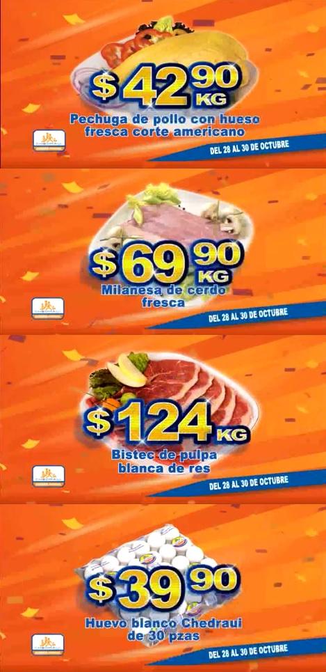 Chedraui: Fin de semana de Carnes: Pechuga de pollo con hueso fresca corte americano $42.90 kg; Milanesa de cerdo fresca $69.90 kg; Bistec de pulpa blanca de res $124 kg; Huevo Blanco Chedraui 30 pzas. $39.90