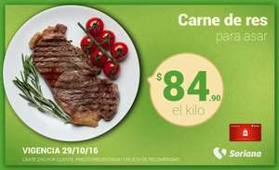 Soriana Híper y Súper: Recompensa Sábado 29 Octubre: Carne de res para asar $84.90 kg.