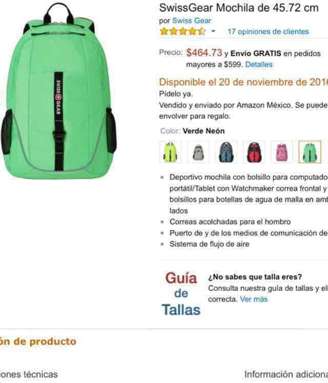 Amazon : Mochila SwissGear $465