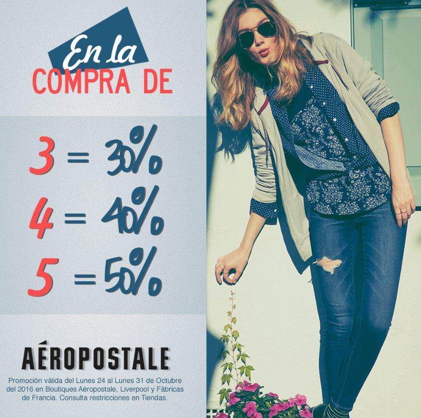 Aeropostale 50% de descuento en toda la tienda comprando 5 prendas!