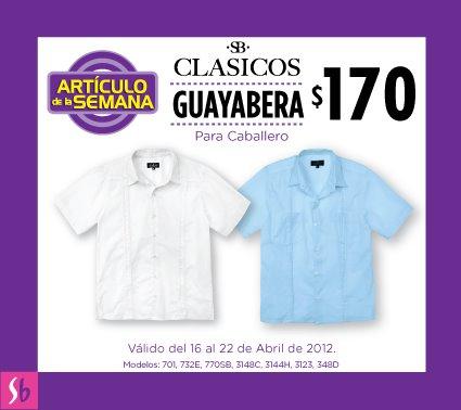 Artículo de la semana en Suburbia: guayabera para caballero a $170