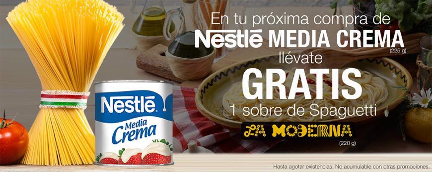 Chedraui Cuponcash: 1 sobre de spaguetti La Moderna ($4.60) GRATIS en la compra de 1 lata de Nestlé Media Crema de 225g ($9.80)