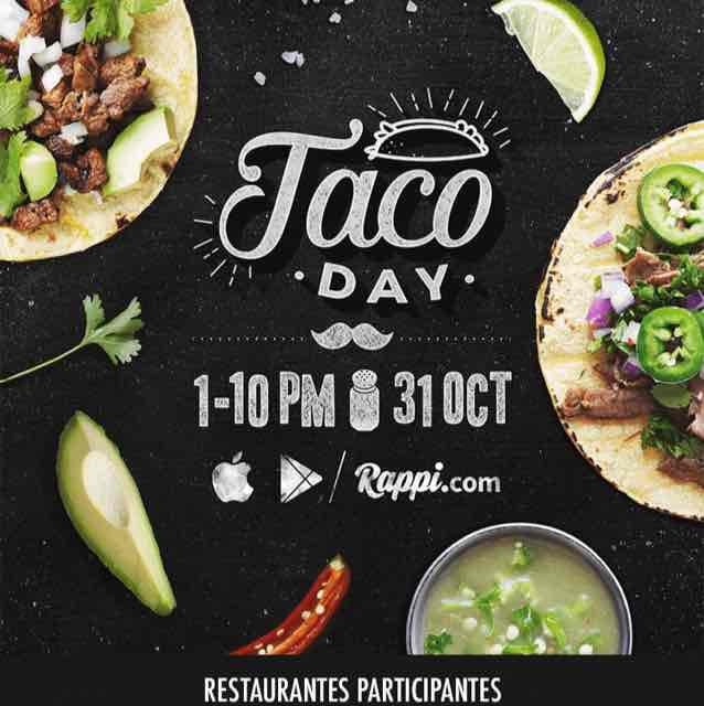 Rappi: Tacos a precio especial hoy 31 Oct