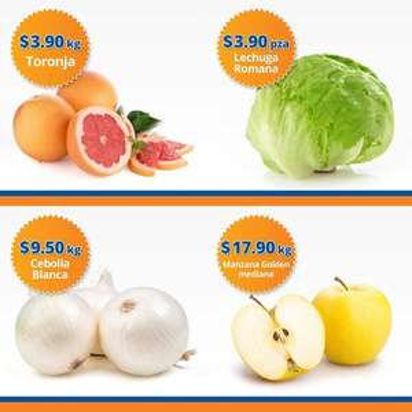 Chedraui: Martimiércoles de Frutiverduras 1 y 2 de Noviembre: Lechuga pza. o Toronja kg $3.90; Cebolla $9.50 kg; Manzana Golden $17.90 kg.