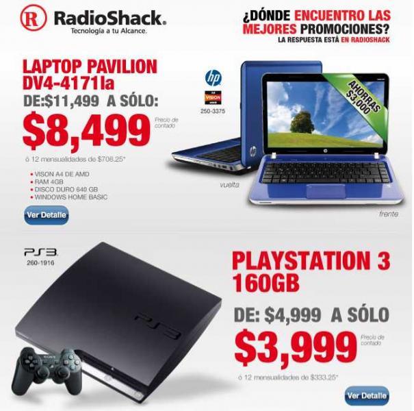 RadioShack: PlayStation 3 a $3,999 y laptop HP con 4GB de RAM $8,499