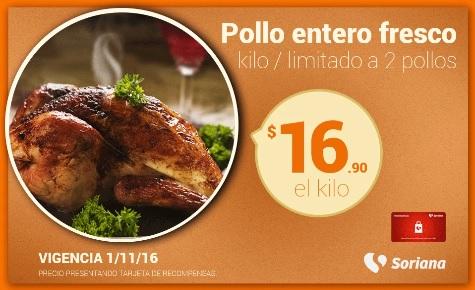 Soriana Híper y Súper: Recompensa Martes 1 de Noviembre: Pollo Entero Fresco $16.90 kg.