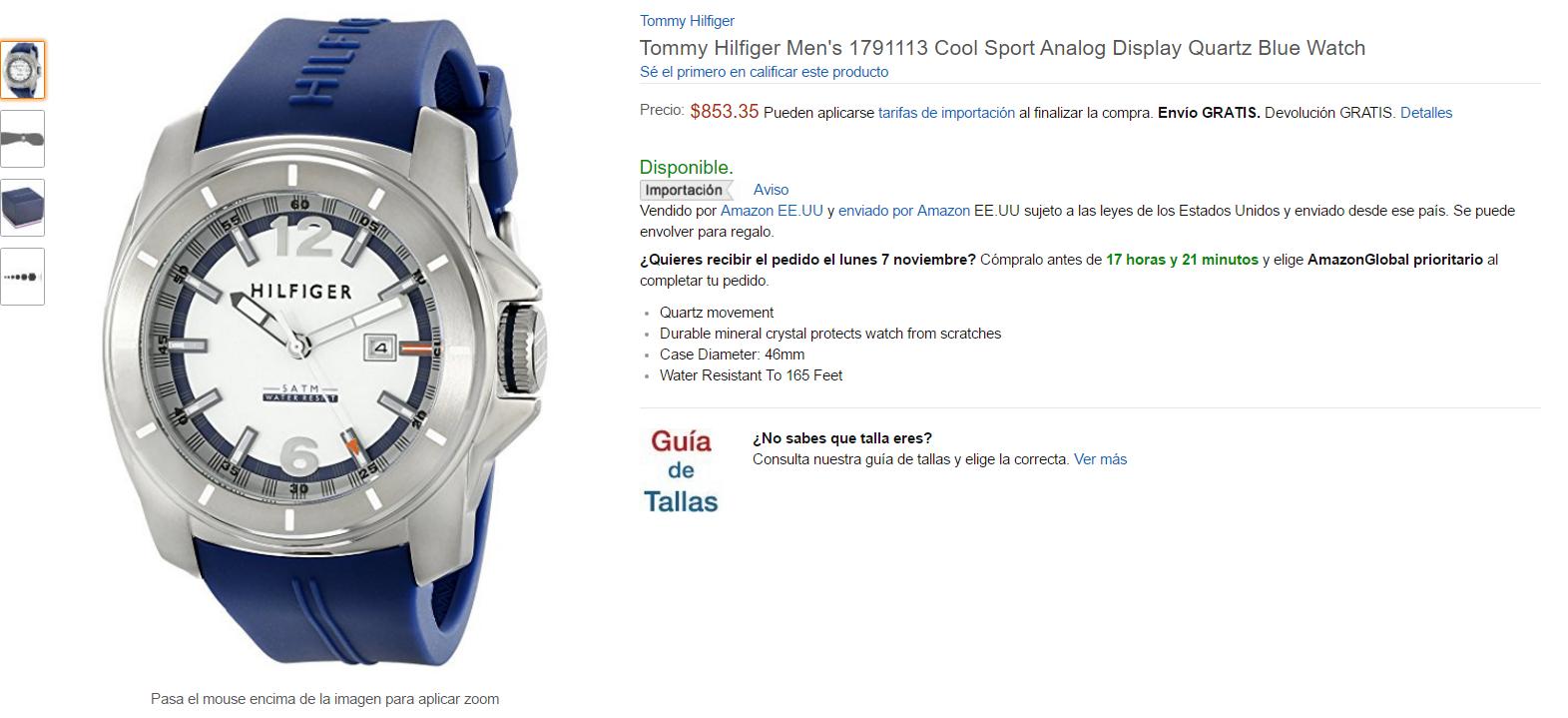 Amazon MX: Reloj Tommy Hilfiger 1791113