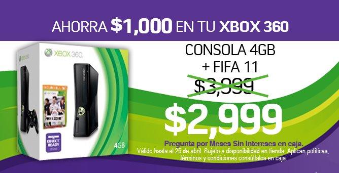 Blockbuster: Xbox 360 4GB + FIFA 11 a $2,999 y de 250GB con 2 juegos a $4,499 (actualizado)