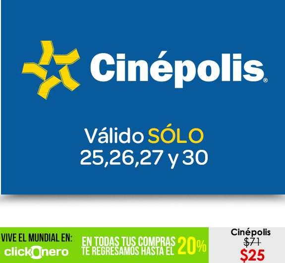 clickOnero: boletos para Cinépolis a $25 válidos por 4 días