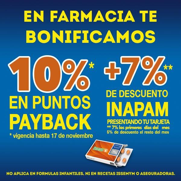 Comercial Mexicana y Mega: 10% de bonificación en puntos Payback en Farmacia + 7% o 5% descuento con INAPAM