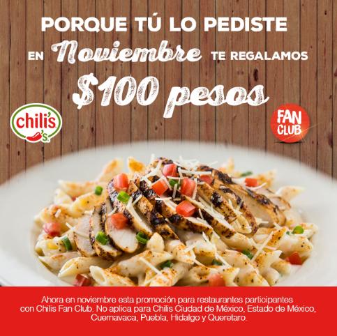 Chili's: $100 de descuento para miembros de Fan Club (No válido en CDMX y Área Metropolitana)